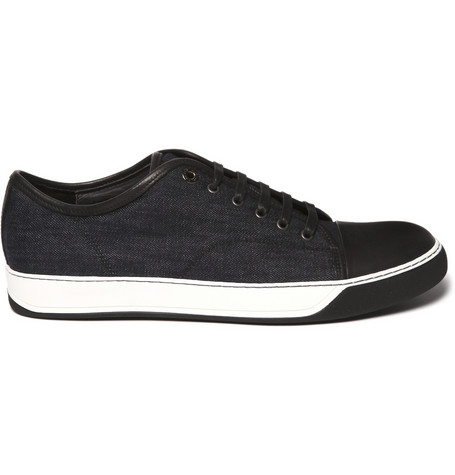 Lanvin Denim and Leather Sneakers $415